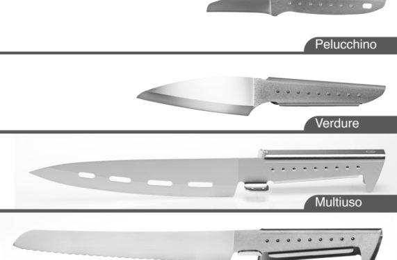 set di cinque coltelli da cucina